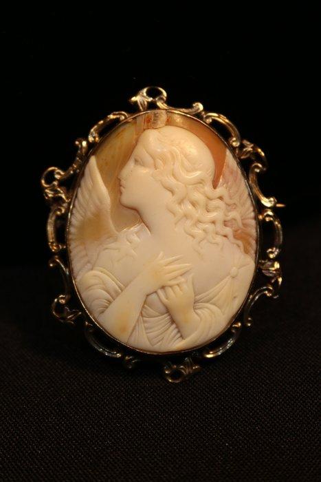 【家與收藏】特價頂級稀有珍藏歐洲百年古董19世紀珍貴手工精緻女神大貝雕cameo墜子胸針珠寶首飾3