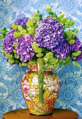 歐洲拼圖 CAS.花 花瓶裡的紫色繡球花  1000片拼圖,104352