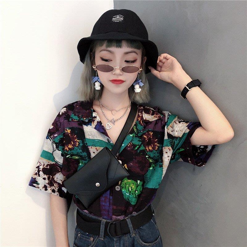 小香風 短袖T恤 時尚穿搭 復古港風chic法式個性潮流花色襯衣寬松短袖花襯衫方領上衣女港味