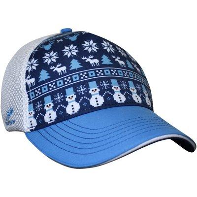騎跑泳/勇者-HEADSWEATS汗淂卡車司機帽,藍白色,冬季耶誕氛圍.Frosty Christmas Trucker