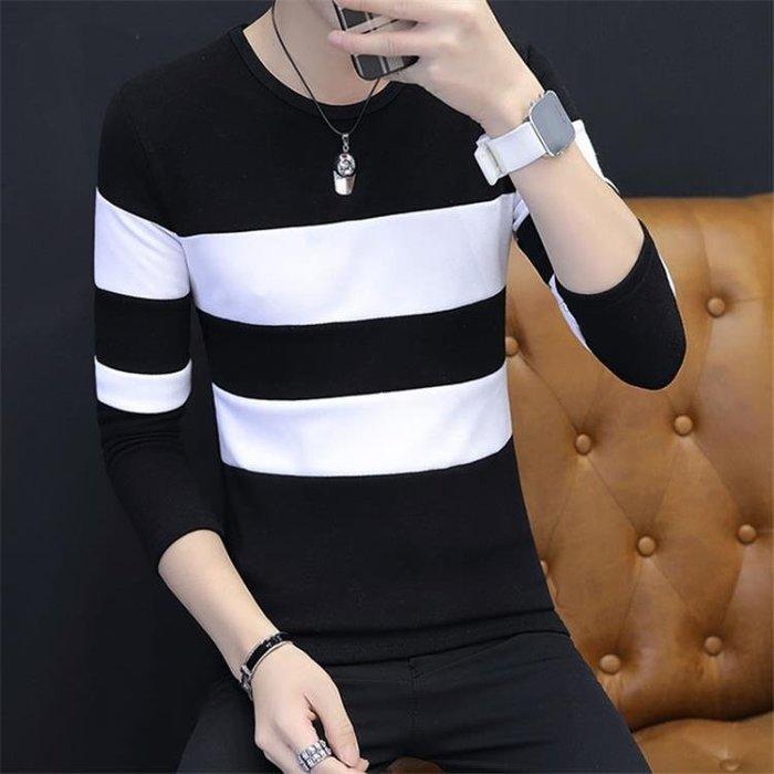 長袖T恤男士上衣服拼接圓領 學生韓版秋季小衫打底衫秋裝潮男衛衣