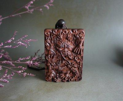 印度小葉紫檀  精雕- 大龍牌 -  高油密老料  雕工精緻 千目高拋  ** T821