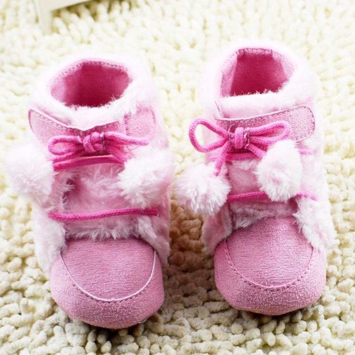 寶貝倉庫~高筒粉色球球保暖雪鞋~學步鞋~寶寶鞋~嬰兒鞋~軟底鞋~靴子~童鞋~粘貼設計-螃蟹車~彌月送禮~促銷價1雙137