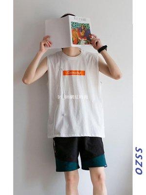 DS_08網紅時尚男士無袖打底上衣夏季正韓潮流坎肩t恤寬松休閒ins潮牌印花背心