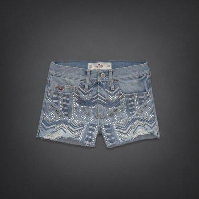 【天普小棧】HOLLISTER High Rise Short-Shorts 高腰牛仔短褲淺刷色刷破鉚釘23腰現貨抵台