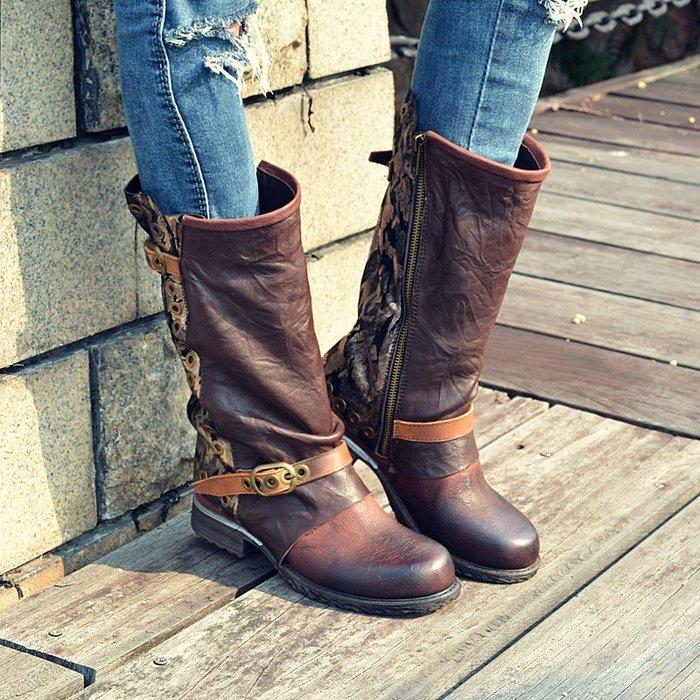 ~皮皮創~原創設計手工鞋。英倫風真皮騎士靴頭層牛皮機車靴低跟拼色做舊復古鉚釘馬丁靴