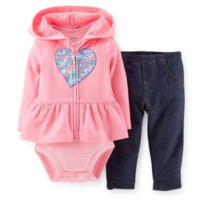 【USA美國精品時尚小舖】Carter's 卡特 Carters 女寶寶連帽外套+短袖連身包臀衣包屁衣+長褲 三件組套裝