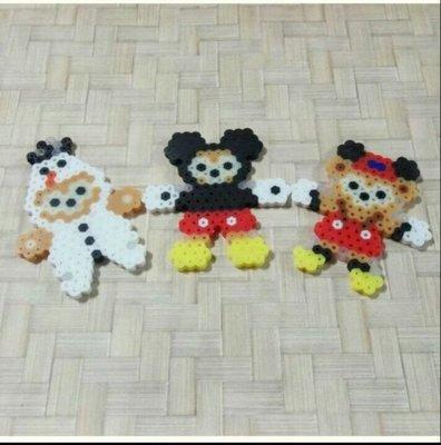 【巧甯的店】😍現貨 特價 迪士尼 達菲熊 套裝 拼豆 雪寶 米奇 拼豆 吊飾 買三送一