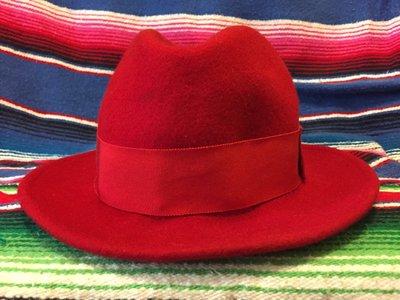 英國製 紅色紳士帽 MADE IN UK 非NEW YORK HAT OLD CROW