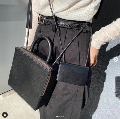 平常小姐┃全新未使用┃日本定番人氣【building block】Box 皮革箱形2way包 黑色 斜背包、手拿包