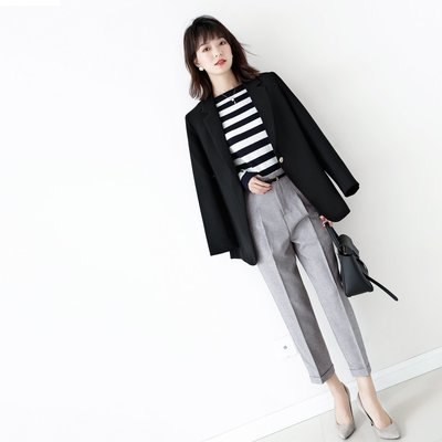 ☆TANG KOREA*╮正韓 附腰帶 中縫高腰錐形西裝休閑褲