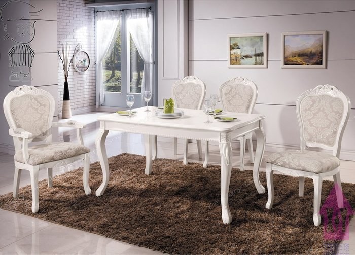 【X+Y時尚精品傢俱】現代餐桌椅系列-奧琳娜 白色法式餐桌不含白色餐椅..摩登家具