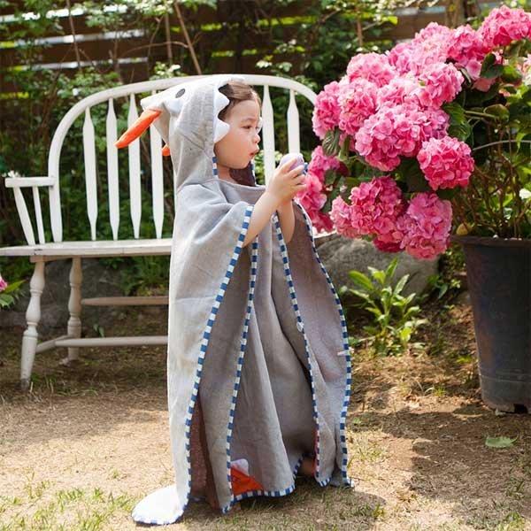 5Cgo【鴿樓】會員有優惠 45554927703 韓國割絨卡通純棉浴袍兒童毛巾鬥篷浴巾帶帽寶寶沙灘巾 毛巾