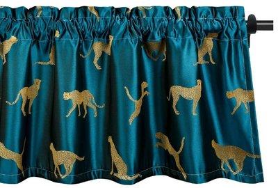 深藍緞面獵豹短簾窗簾簾子時尚動物花豹擋簾遮簾窗戶掛簾房間廚房裝飾布牆上掛飾掛布