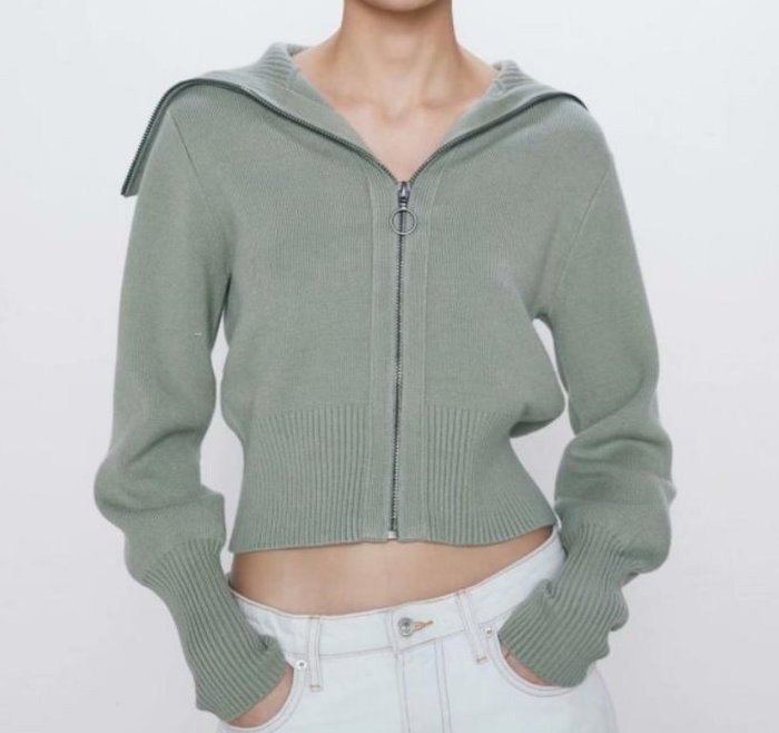 #針織衫#歐美新款秋季復古拉鍊毛衣上衣針織外套罩衫Y13-36113