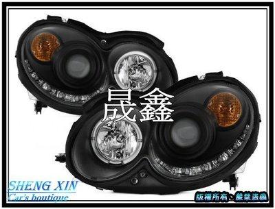 《晟鑫》全新 W209 CLK C209 W209 單光圈 超亮LED燈眉版 魚眼 大燈組 04~09年 銀底 黑底