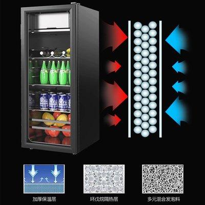 迷你小冰箱榮事達128冰吧單門小型冰箱家用客廳辦公室玻璃門茶葉冷藏保鮮柜