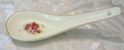粉紅玫瑰精品屋~歐式象牙瓷紅玫瑰湯匙