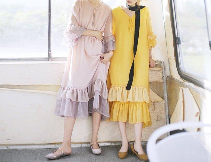 SeyeS  {日本空運} 日系古著森林系甜美絲絨荷葉洋裝