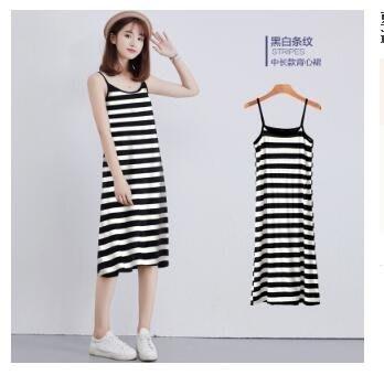 夏季莫代爾打底吊帶裙女內搭襯裙中長版寬鬆無袖背心裙大尺碼連身裙洋裝XFJJ1501