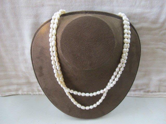 二手舖 NO.1332 天然珍珠 造型兩條式項鍊 高貴大方 母親節特價