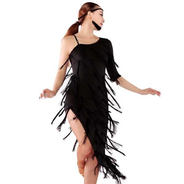 5Cgo【鴿樓】會員有優惠  41365204072 單肩中袖流蘇款拉丁舞服 拉丁舞裙 廣場舞服 連衣裙 拉丁舞衣