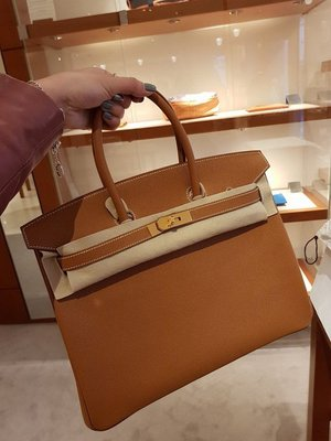 J-Shop Luxury 精品店 hermes 35cm Birkin 37 gold焦糖色 epsom 金釦D刻