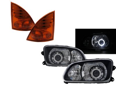 0331卡嗶車燈 HINO日野 500 08-ON 兩門車 光導LED天使眼魚眼含角燈 V2 大燈 黑