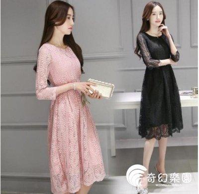 洋裝 韓版 伴娘 尾牙 中長款 蕾絲 七分袖 連身裙 小禮服 婚禮-