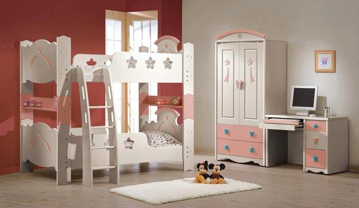 CH131-1 貝妮斯3.5尺雙層床/粉紅兒童床/大台北地區/系統家具/沙發/床墊/茶几/高低櫃/1元起