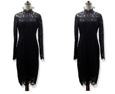 加大尺碼153 春裝新款胖妹妹鏤空拼接蕾絲連衣裙