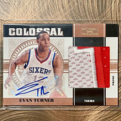 2010-11 Evan Turner National Treasures #19 COLOSSAL PATCH AUTO RC #D 02/25