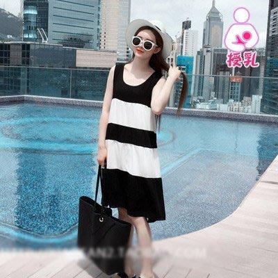 【愛天使孕婦裝】93362絲棉 超涼爽色塊哺乳衣洋裝 孕婦裝  dmv