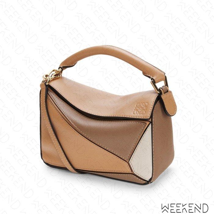 【WEEKEND】 LOEWE Mini Puzzle 迷你 拼圖包 肩背包 拚色 米+棕色
