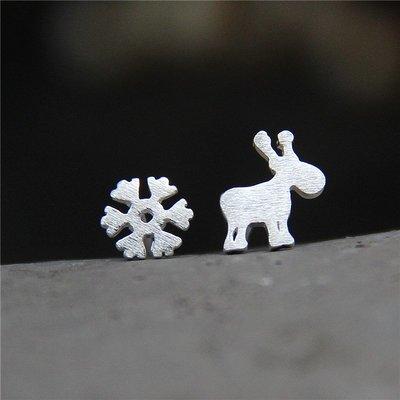 ||一品著衣|| 手工銀飾時尚養耳洞s925純銀雪花麋鹿耳釘圣誕拉絲小鹿耳釘可愛迷你耳飾 彰化縣