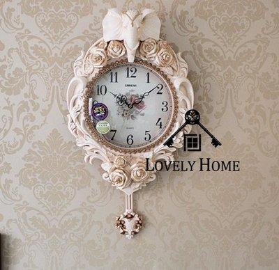 (台中 可愛小舖)歐式古典風格-祈福大象古典立體玫瑰雕花羅馬數字鐘框有襄鑽掛鐘壁鐘吊鐘店家裝潢邱裝飾波麗製