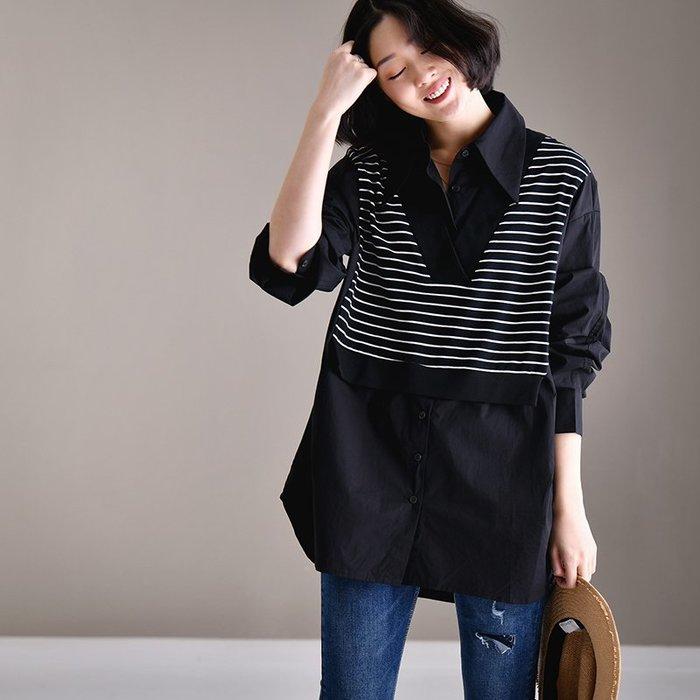 CHIC U 都市文藝假兩件襯衫韓版寬松小芳齡橫條紋拼接中長版黑襯衫女