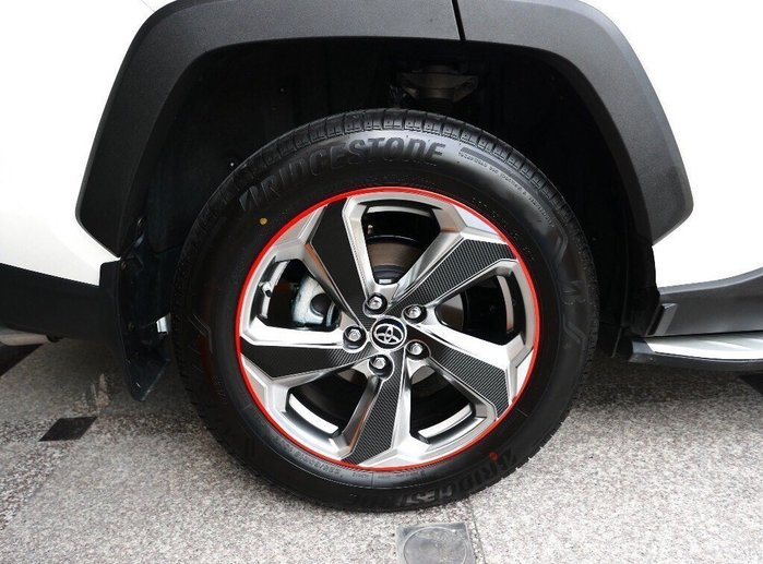 TOYOTA豐田【RAV4鋼圈邊條貼膜】輪框膠條貼 紅色線條貼 3M黃色貼紙 鋁圈邊框貼紙 輪胎橡皮 精品配件 改裝套件