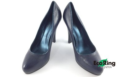 [Eco Ring HK]*Bottega Veneta Heels / 36.5 / Leather / Navy*RankA -187010575-