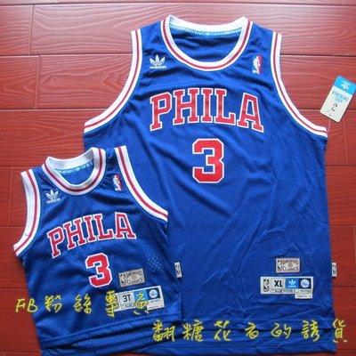 NBA官網adidas正品費城76人隊Allen Iverson艾佛森戰神Kobe青年版電繡網眼球衣女生可穿YL YXL