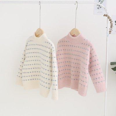 【VIAN】含運Y女童毛衣 楊梅2019春季新款中領套頭長袖上衣女 針織衫 毛衣