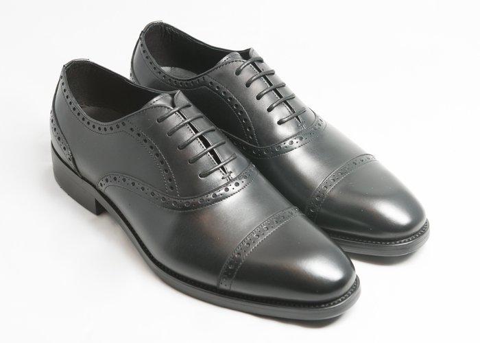 開普托雕花牛津鞋:手工上色小牛皮真皮木跟皮鞋男鞋-黑色-免運費-[LMdH直營線上商店]E1A18-99