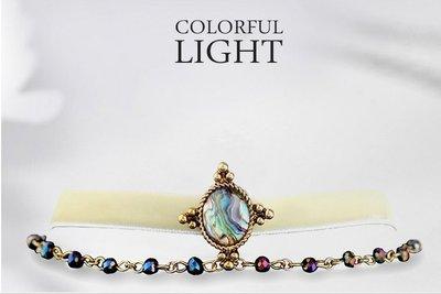水晶珠寶翡翠宫廷奢華古典彩色寶石絲帶項鍊帶