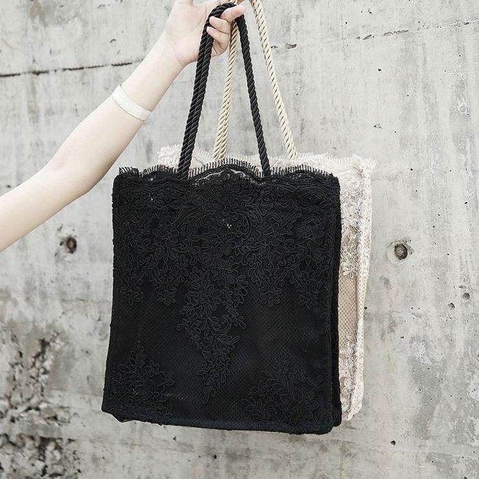 【鳳眼夫人】獨立設計品牌訂製款 2色 simple夏季網紗蕾絲拼接百搭手提包 方包 肩背包 網眼個性復古風暗黑系實用大包