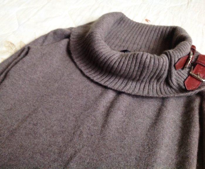 RALPH LAUREN  棕灰色領子皮邊羊毛衣 M號 100% Cashmere