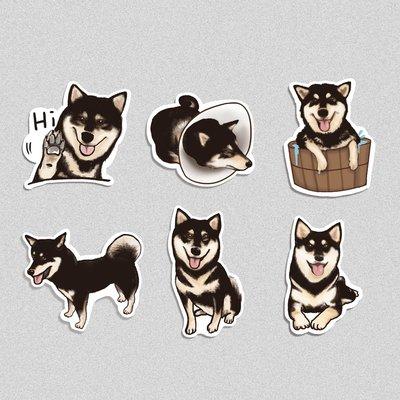《柴犬-黑色柴犬》/ 原創-防水貼紙包 1組(6入)  / 蒼蠅星球 / 手創市集
