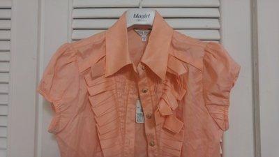 全新吊牌 miamia 粉橘荷葉邊小飛袖襯衫