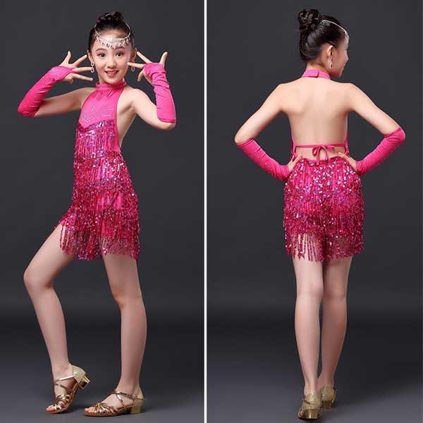 5Cgo【鴿樓】會員有優惠  524434584178 兒童拉丁舞裙少兒幼舞蹈 女童流蘇演出服裝比賽表演服裝