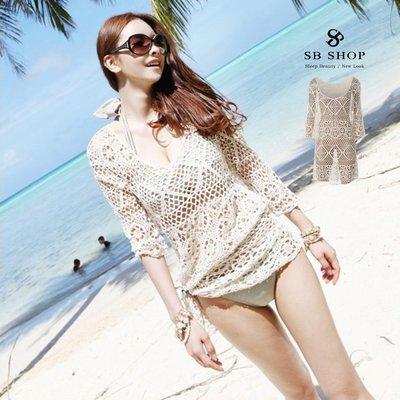 SB SHOP【珍珠點點落肩罩衫 ts81 】女裝 罩衫 夏日 海灘裙 防曬 外套 顯瘦 透膚 美背