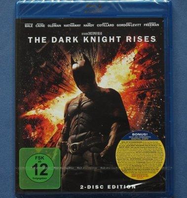 蝙蝠俠 黑暗騎士:黎明昇起 雙碟版The Dark Knight Rises 全新歐洲進口藍光BD 中文字幕